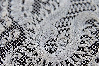 Vtg Antique White Cotton Tambour Lace Wedding Bridal Handkerchief LG 1800's