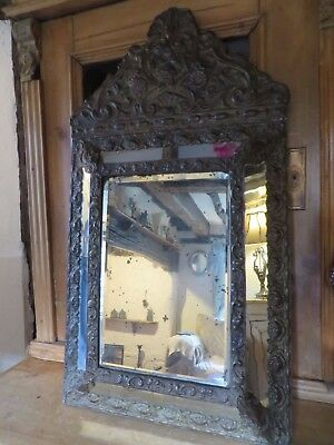 EXQUISITE ANTIQUE FRENCH BRASS WALL HANGING  MIRROR ~  1800's FROM BURGUNDY