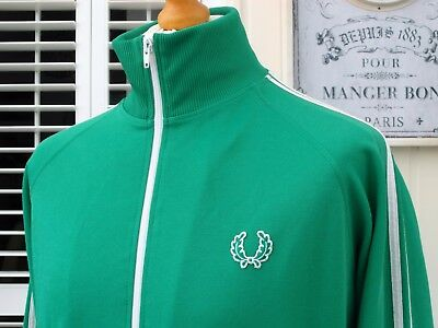 Fred Perry Emerald Green Twin Taped Track Jacket - M/L - Ska Mod Scooter Casuals