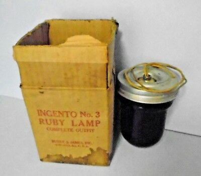 Rare Ingento No.3 Ruby Lamp Darkroom Safey + Amberlite Bulb Burke & James W/Box