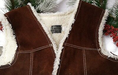 Silver's Men's Sz 42 Gen. Leather Suede Brown Snap Vest Shearling Lined Mexico