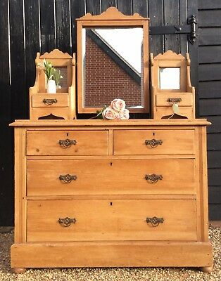 Edwardian Pine & Satinwood Mirror Back Dressing Chest / Chest Of Drawers