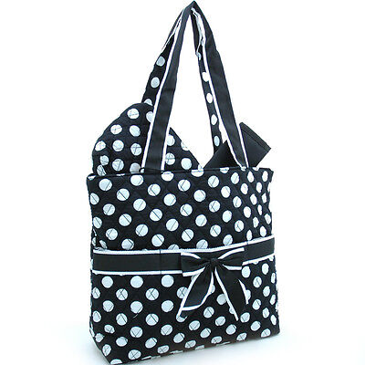 Quilted Polka Dot Black 3pc Diaper Bag w/ Ribbon Accents-NWT