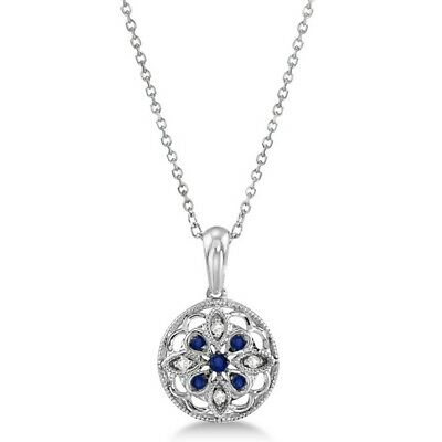Diamond and Sapphire Flower Necklace Pendant Sterling Silver (0.09ct)