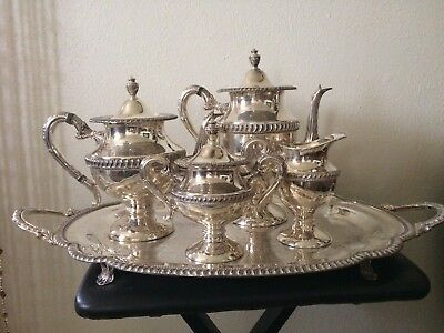 Antique Silver on copper Tea set, Footed Tray 5pcs