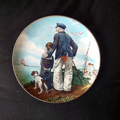 "x2 NORMAN ROCKWELL PLATES 1982 ""LOOKING OUT TO SEA"" & 1986 ""SITTING PRETTY"""