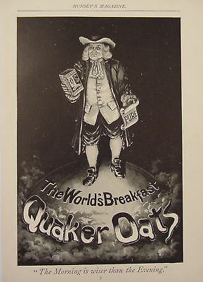 1895 Quaker Oats Breakfast Ad The Morning is Wiser than the Evening Ad