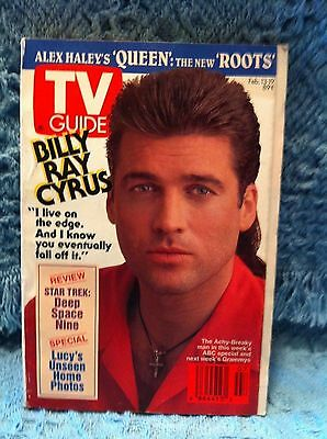 """Nos Billy Ray Cyrus February 13, 1993 Tv Guide """"i Live On The Edge. . . """""""