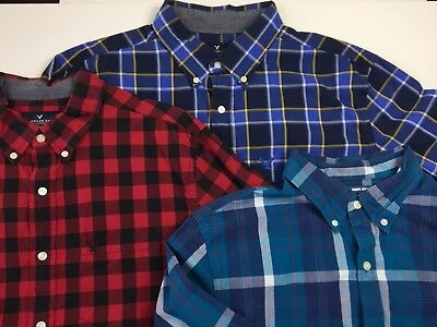 Lot of 3 Mens Large Button Down Shirts L/S Dress 2 American Eagle Old Navy EUC