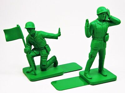 Toy Soldier Bookends Green Army Men Bluw GI Story Book Shelf Rack War WWII