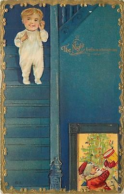 The Night Before Christmas~Santa by Tree~Child On Stairs~Gold~Emb~Nash Serie 15