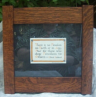 ARTS and CRAFTS PERIOD ELBERT HUBBARD OAK WOOD FRAMED MOTTO -  DARD HUNTER PRINT