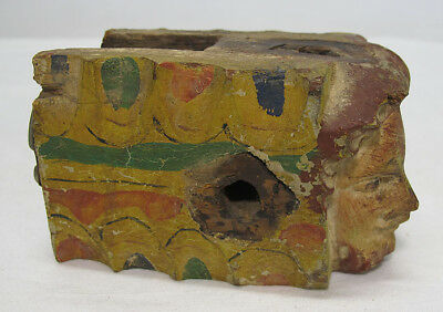 17th/18th c Architectural Salvage (3) Carved&Painted Figural Wood Fragments yqz