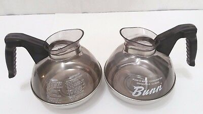 Bunn Pour-o-matic 12 Cup Commercial Coffee Carafe - Plastic Top - Lot of 2    SH