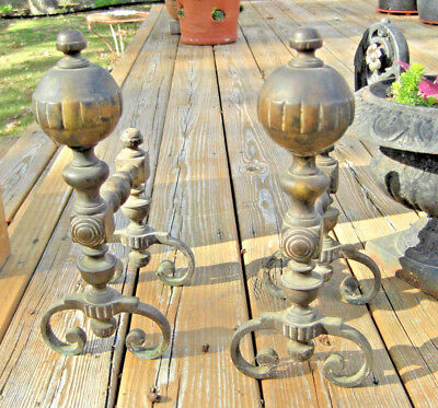 Antique Vtg Small Brass Andirons Set Fire Dogs Fireplace Tool Rests Mid-Century