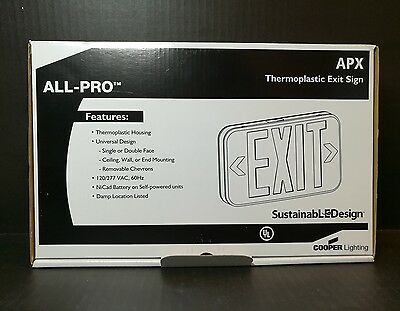 Cooper Lighting All Pro Self Powered LED Exit Sign ~APX7G~