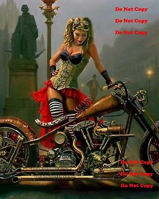 Harley Davidson Motorcycle Pinup Girl 8X10 Photograph Photo Man Cave RAT ROD sig