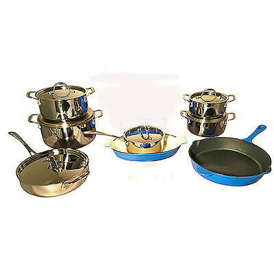 Le Chef 16-Piece Cookware Set, France Blue and Silver.