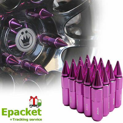 20xPURPLE Spike Tuner Extended Lug Nuts for Wheels Rims M12X1.5 60mm Aluminum LS