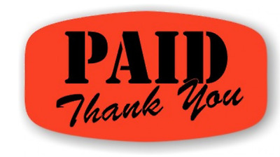 """1.25"""" x .625"""" Paid Thank You MERCHANDISE LABELS 1000 PER ROLL STICKER FL RED NEW"""