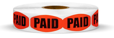 "1.25"" x .625"" Paid MERCHANDISE LABELS 1000 PER ROLL STICKER FL RED NEW"