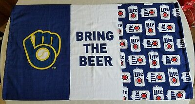 New Miller Lite Bring The Beer Brewers Beach Towel 44 x 24 Baseball Giveaway