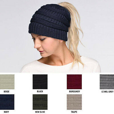Hot Women Girl Stretch Knit Hat Messy Bun Ponytail Beanie Holey Warm Cap Winter