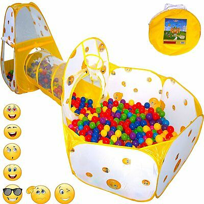 Baby Play Tent Crawl Tunnel and Ball Pit Toddler Toy Stages Playhouse Emoji Toy