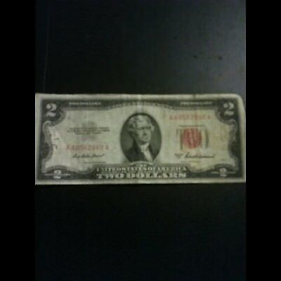 1953A $2 Dollar Bill Old Us Note Legal Tender Paper Money Currency Red Seal N498