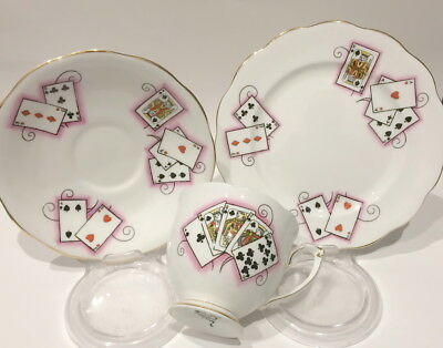 🌟 Queen Anne Lady Luck 5044 Joker Playing Cards Trio Cup Saucer Plate