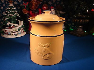 VTG Williams Sonoma England COOKIE JAR Ceramic BELLS ROCKING HORSE STOCKING