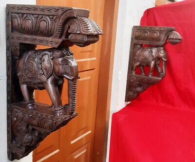 Wooden Elephant Handmade Bracket Corbel Pair Architectural Wall Sculpture Diwali