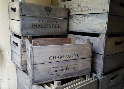Champagne Crate Firewood Log Store Carrying Basket Carrier Fireside Storage