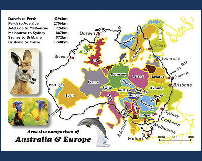 45 Map Postcards of Australian vs Europe, Asia and America