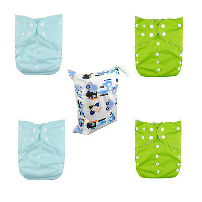 4 Large Size Cloth Diapers Reusable Pocket Nappies+ 4Inserts 1 Wet Dry Bag In US