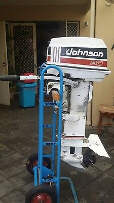 JOHNSON 30 hp OUTBOARD ENGINE MOTOR 1991 TILLER STEER