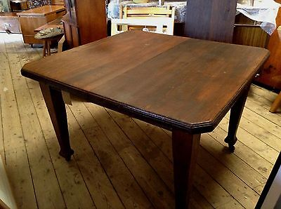 Arts and Crafts Stained Pine Dining Table C 1910 Extending Leaf