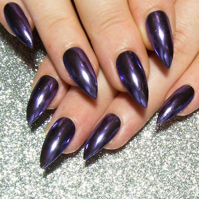 Chrome Purple Press On Gel Artificial Acrylic Fake False Faux Glue On Nails
