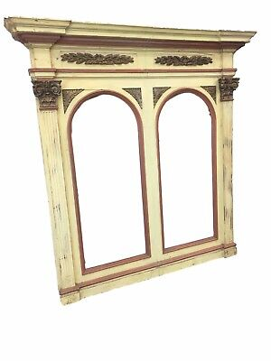 Large 19th c. Italian Antique Painted Architectural Mirror Frame