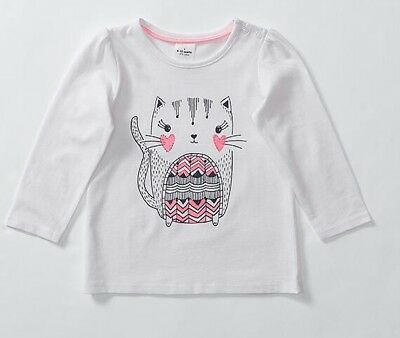 NEW Baby Kitty Cat T-Shirt Tee Long Sleeve 3-6 months White Glitter Cotton Top