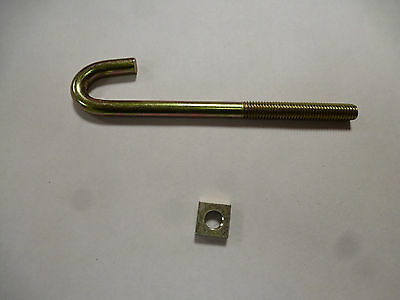 10 x M8x120mm HOOK J BOLTS & SQUARE NUTS ZINC +PASSIVATED