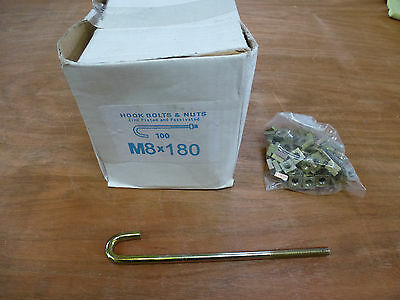 20 x M8x180mm HOOK J BOLTS & SQUARE NUTS ZINC ROOFING GUTTERING FENCE