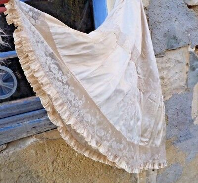 Antique Victorian French 1850/1900 cream silk & lace skirt size S
