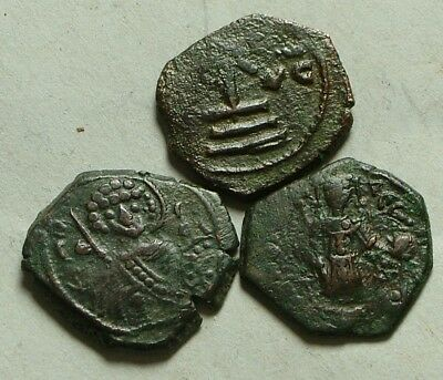 Lot 3 Genuine ancient BYZANTINE 1/2 Tetarteron coins Christ Cross Saint Monogram