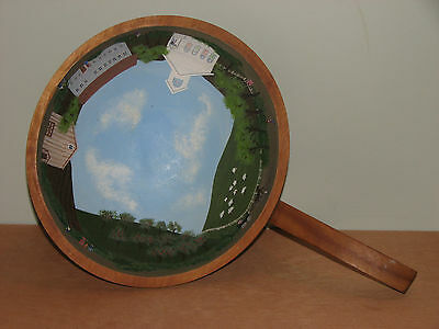 Baribocraft Art Canada Wooden Nut Bowl Handle Folkart Painting Signed J Thomson