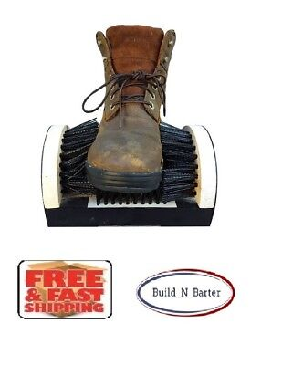 Muddy Boot Scraper Side & Bottom Scrubber Bristle Brush Shoe Cleaner Floor Mount