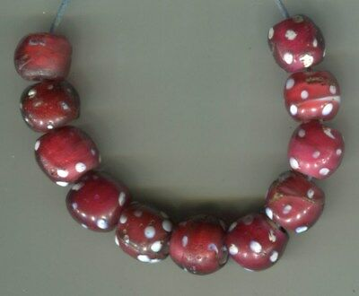 African Trade beads glass Vintage Venetian glass 11 red skunk eye beads