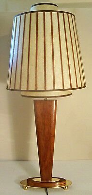 Rare Majestic High Quality Mcm Danish Modern Solid Brass Teak Lamp Futurian Ltd