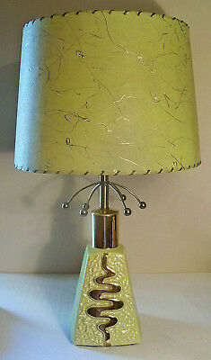 "Vintage Mid Century 25"" Chartreuse Ceramic Gold Gilt Sputnik Table Lamp Engelite"