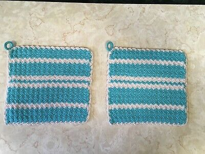 "Lot Of 2 Vintage Crochet Doilies - Potholders/hot Pads - Aqua - Beige - 7"" By 7"""